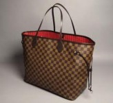 lv damier neverful handbag with serial no, authentication card and dust bag