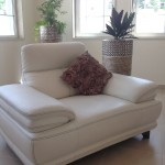 White Italian leather sofa