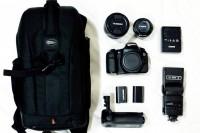 Canon 60D, Tamron 17-50mm, 50mm 1.8,Canon Battery Grip, Batteryx2, LowerPro Bag, Flash